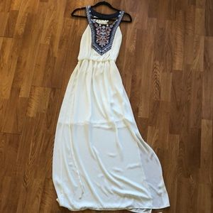 White maxi dress with pattern front